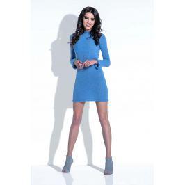 Niebieska Sukienka Wełniana Dopasowana Mini