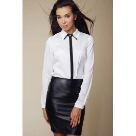 Elegancka Koszula z Kontrastową Lamówką - Biały Koszule damskie