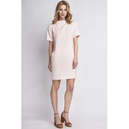Prosta Różowa Sukienka z Krótkim Rękawem Sukienki i suknie