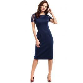 Granatowa Sukienka Wieczorowa Ołówkowa Midi z Koronką Sukienki i suknie