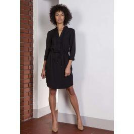 Czarna Codzienna Sukienka ze Stójką Wiązana w Pasie Sukienki i suknie