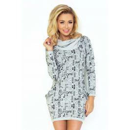 Szara Mini Sukienka z Opadającym Golfem i Kieszeniami Sukienki i suknie
