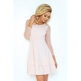 Różowa Sukienka Wizytowa Rozkloszowana z Transparentnymi Rękawami Sukienki i suknie