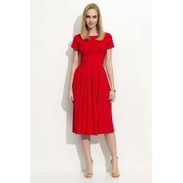 Czerwona Sukienka Klasyczna Rozkloszowana z Krótkim Rękawem Sukienki i suknie