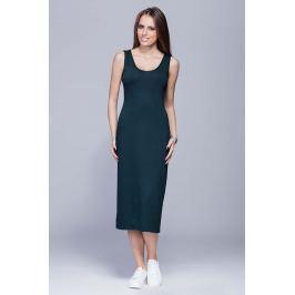 Zielona Długa Sukienka Tuba na Szerokich Ramiączkach