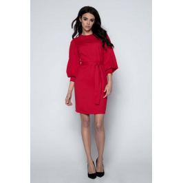 Czerwona Sukienka z Bufiastym Rękawem 3/4 Sukienki i suknie
