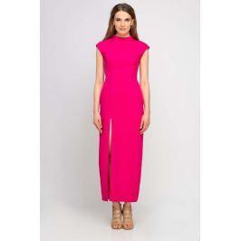 Długa Fuksja Sukienka ze Stójką z Rozcięciem na Boku Sukienki i suknie