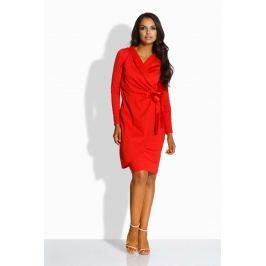 Czerwona Sukienka Kopertowa z Satynową Kokardą na Boku