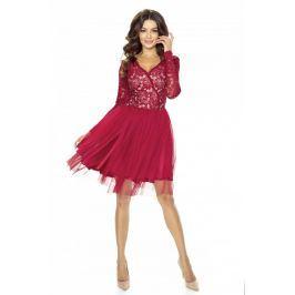 Bordowa Sukienka Koronkowa z TiulowąSpódnicą