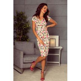 Wyjściowa Sukienka Ołówkowa z Nadrukiem w Róże na Ecru Sukienki i suknie