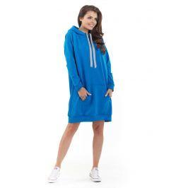 Niebieska Długa Bluza Kangurka z Kapturem w Sportowym Stylu Bluzki i bluzeczki damskie