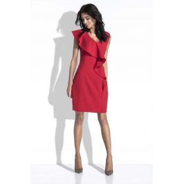 Czerwona Sukienka bez Rękawów z Asymetryczną Falbanką
