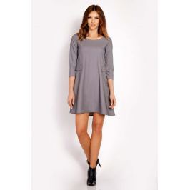 Szara Sukienka Mini z Patkami Imitującymi Kieszenie Sukienki i suknie