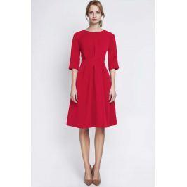 Czerwona Wizytowa Sukienka z Szerokim Dołem w Zakładki