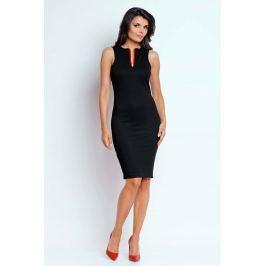 Czarna Ołówkowa Letnia Sukienka z Kontrastowym Zamkiem Sukienki i suknie