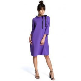 Fioletowa Luźna Sukienka z Wiązaniem przy Dekolcie
