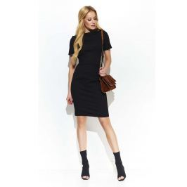 Czarna Klasyczna Sukienka z Guzikiem na Kołnierzyku