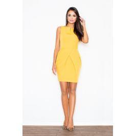 Elegancka Żółta Sukienka bez Rękawów z Drapowaniem