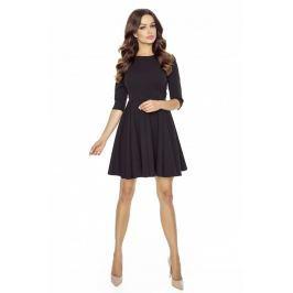 Czarna Sukienka z Szerokim Dołem Zapinana na Złoty Zamek