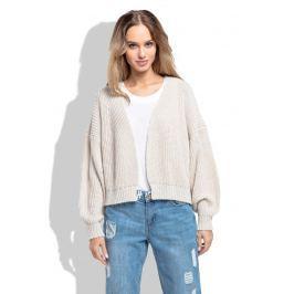 Beżowy Krótki Sweter bez Zapięcia z Grubszym Splotem