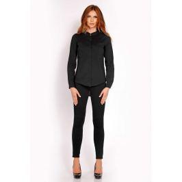 Czarna Koszula z Niską Stójką Koszule damskie