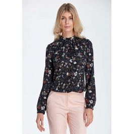 Wizytowa Koszulowa Bluzka z Marszczeniami przy Stójce - Wzór Ecru Bluzki i bluzeczki damskie