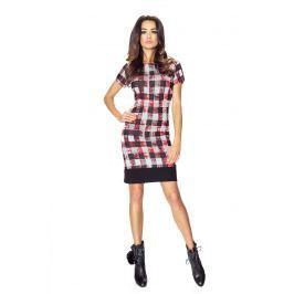 Sukienka we Wzory z Czarnym Obszyciem - Czerwona Kratka
