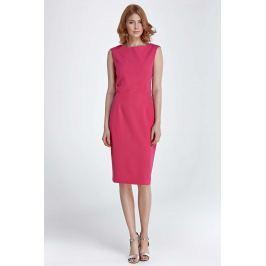 Fuksja Sukienka Klasyczna Dopasowana bez Rękawów Sukienki i suknie