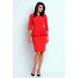 Czerwona Wizytowa Sukienka Midi z Baskinką Sukienki i suknie
