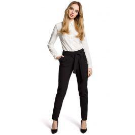 Czarne Eleganckie Spodnie Typu Chino z Wiązanym Paskiem