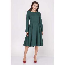 Zielona Wizytowa Sukienka Midi z Szerokim Dołem