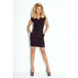 Czarna Sukienka Mini z Zakładanym Dekoltem Sukienki i suknie