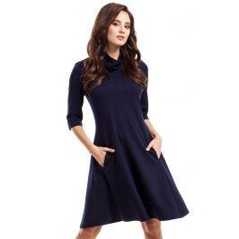 Granatowa Sukienka Trapezowa Dzianinowa z Golfem Sukienki i suknie
