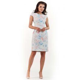 Pastelowa Dopasowana Mini Sukienka w Piękne Kwiaty Sukienki i suknie