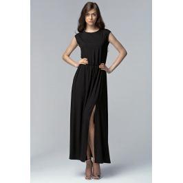 Czarna Efektowna Maxi Sukienka z Długim Rozporkiem Sukienki i suknie