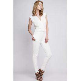 Biały Elegancki Kombinezon z Kopertowo Zakładanym Dekoltem Spodnie eleganckie damskie