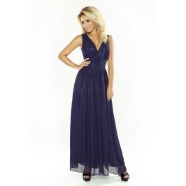 Granatowa Sukienka Wieczorowa Maxi z Dekoltem V Sukienki i suknie