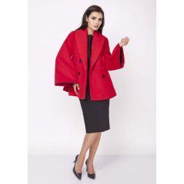 Czerwony Elegancki Dwurzędowy Płaszcz z Rozkloszowanym Rękawem