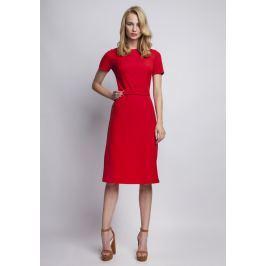 Szykowna Czerwona  Sukienka z Krótkim Rękawem i Ozdobnym Paskiem