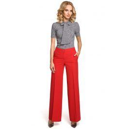 Czerwone Spodnie Eleganckie Szerokie w Kant Spodnie eleganckie damskie