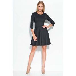 Czarna Sukienka Mini z Szerokim Dołem
