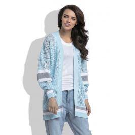 Błękitny Długi Ażurowy Kardigan z Kolorowymi Paskami Sweterki