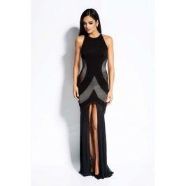 Czarno Srebrna Sukienka Maxi Tuba z Odkrytymi Plecami Sukienki i suknie