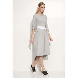 Szara Sukienka Asymetryczna Midi z Podkreśloną Talią Sukienki i suknie