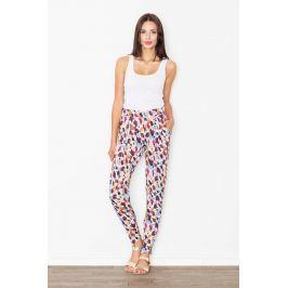 Spodnie na Gumie we Wzór Odcienie Brązu i Fioletu Spodnie eleganckie damskie