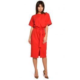 Czerwona Sukienka Midi z Rozcięciem na Przodzie Sukienki i suknie