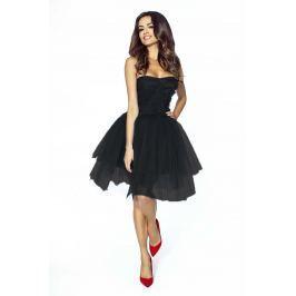 Czarna Sukienka Gorsetowa z Tiulu