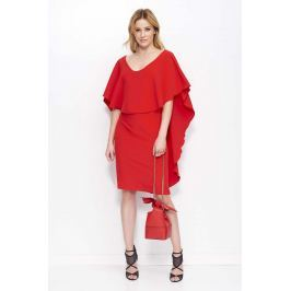 Czerwona Sukienka Midi z Peleryną