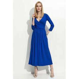 Chabrowa Sukienka Wizytowa Długa z Kopertowym Dekoltem Sukienki i suknie