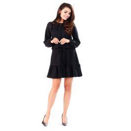 Czarna Sukienka z Falbanką Wiązana przy Dekolcie